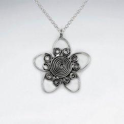 Oxidized Silver Swirl Flower Elaborate Wirework Design Pendant