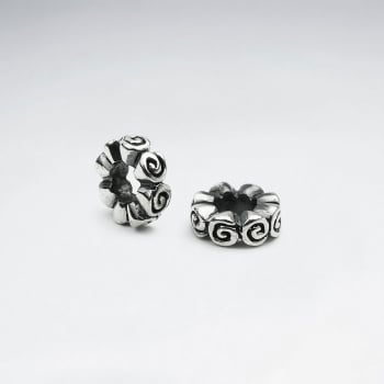 Oxidized Silver Swirls Circle Beads Pack Of 2 Pieces