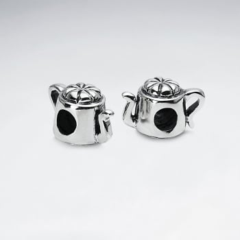 Oxidized Silver Teapot Beads Pack Of 2 Pieces