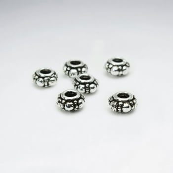 Oxidized Silver Texture Bubble Spacer Beads Pack Of 25 Pieces