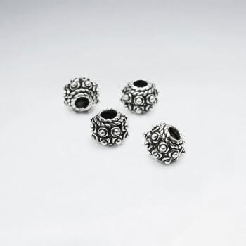 Oxidized Silver Texture Designer Beads Pack Of 100 Pieces