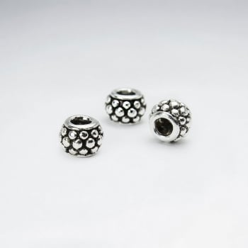 Oxidized Silver Texture Dotted Beads Pack Of 10 Pieces