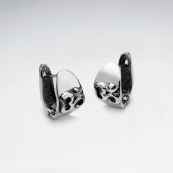 Oxidized Silver Textured Button Style Earrings