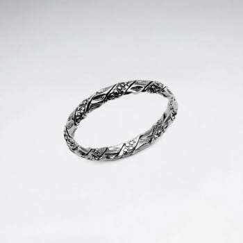 Oxidized Silver Textured Filigree Ring