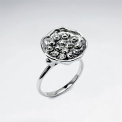 Oxidized Silver Textured Flat Top Floral Inspired Ring