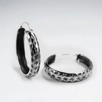 Oxidized Silver Textured Huggie Hoop Earrings