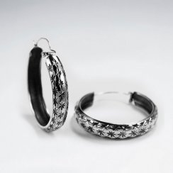 Oxidized Silver Textured Huggie Hoop Earrings