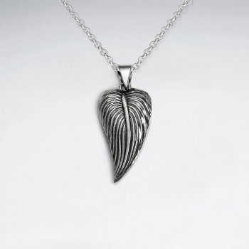 Oxidized Silver Textured Leaf Pendant