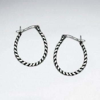 Oxidized Silver Textured Rope Twist U- Hoop Earrings