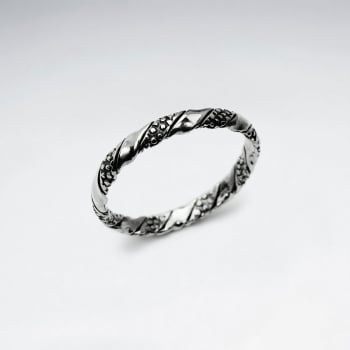 Oxidized Silver Textured Twist Ring