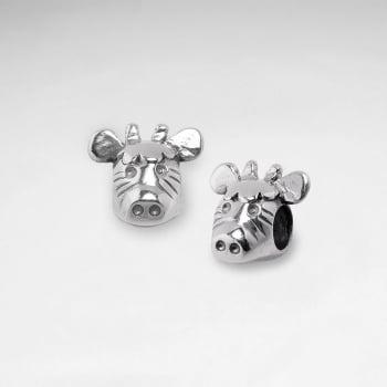 Oxidized Silver Zebra Head Beads