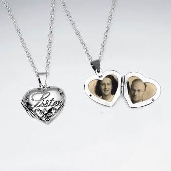 """Oxidized """"Sister"""" Keepsake Locket Pendant in Sterling Silver"""