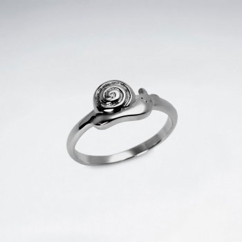 Oxidized Snail Sterling Silver Ring