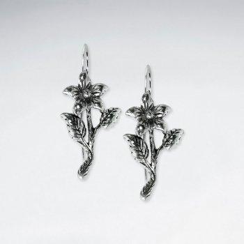 Oxidized Spring Flower Dangle Drop Earrings