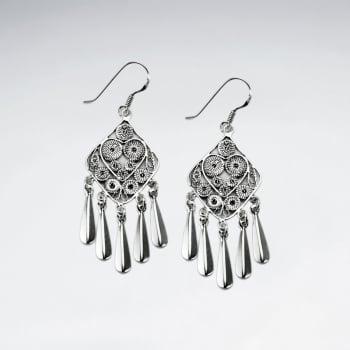 Oxidized Square Sterling Silver Dangle Chandelier Earrings