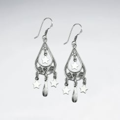 Oxidized Star Studded Chandelier Drop Earrings
