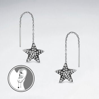 Oxidized Starfish Antique Silver Earring