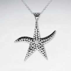 Oxidized Starfish Silver Pedant With Dot Patern