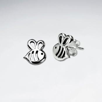 Oxidized Sterling Silver Bumblebee Earrings