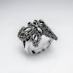 Oxidized Sterling Silver Butterfly Ring