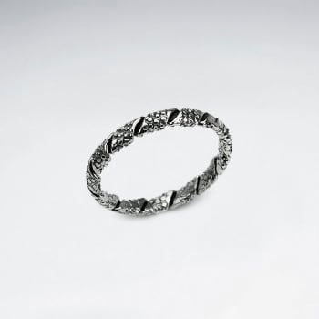 Oxidized Sterling Silver Crackled Textured Wrap Style Ring