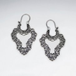 Oxidized Sterling Silver Dangling Wavy Diamond Shaped Earrings
