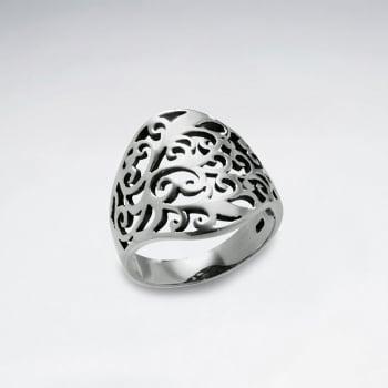 Oxidized Sterling Silver Filigree Design Ring