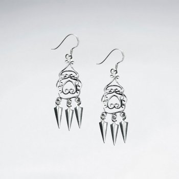 Oxidized Sterling Silver Filigree Earrings With Cone-Shaped Dangle