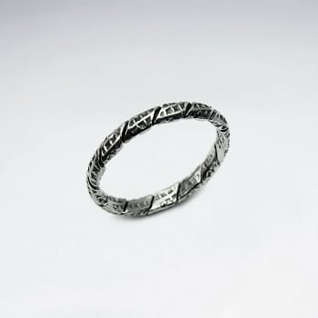 Oxidized Sterling Silver Hammered Style Ring