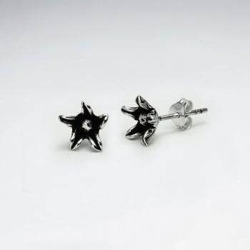 Oxidized Sterling Silver Handmade Starfish Stud Earrings