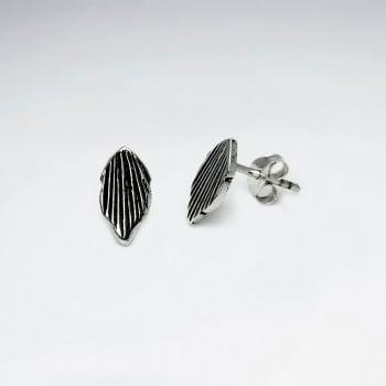 Oxidized Sterling Silver Handmade Textured Organic Design Stud Earrings