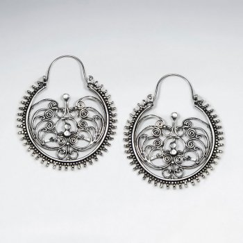 Oxidized Sterling Silver Hanging Filigree Earrings