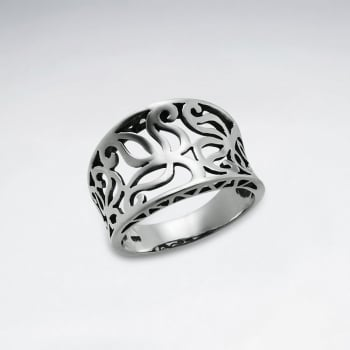 Oxidized Sterling Silver Leaf Filigree Design Ring