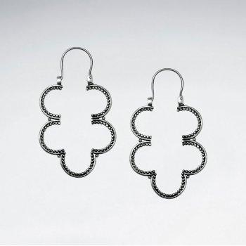 Oxidized Sterling Silver Organic Clover Drop Earrings