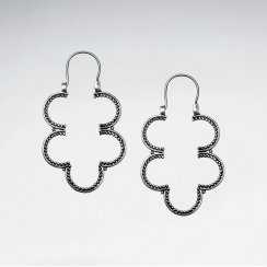 Oxidized Sterling Silver Organic Clover Drop Earrings