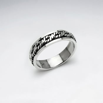 Oxidized Sterling Silver Rope Design Band