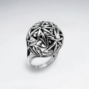 Oxidized Sterling Silver Starburst Filigree Design Ring