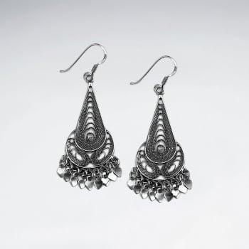 Oxidized Sterling Silver Teardrop Dangle Earrings