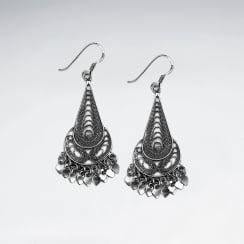 Oxidized Sterling Silver Teardrop Dangle Earrings