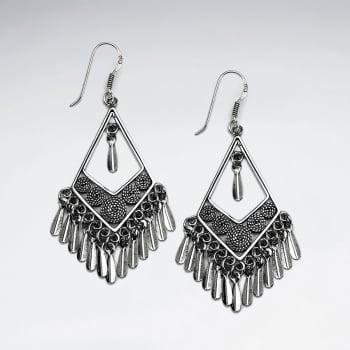 Oxidized Sterling Silver Triangle Fringe Chandelier Drop Earrings