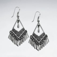 Oxidized Sterling Silver Triangle Fringe Chandelier Drop Earrings
