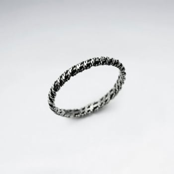 Oxidized Sterling Silver Wrap Textured Ring