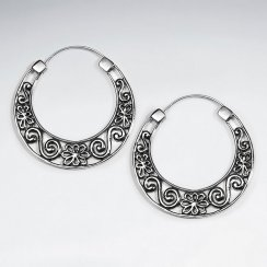 Oxidized Swirls and Curls Filigree U-Hoop Earrings