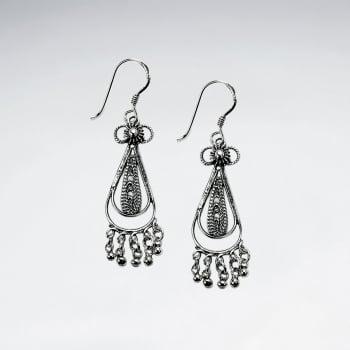 Oxidized Teardrop Dangle Hook Earrings