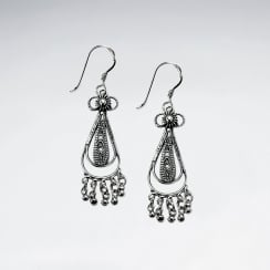 Oxidized Teardrop Dangle Hook Earrings