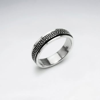 Oxidized Textured Pattern Silver Ring