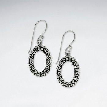Oxidized Textured Silver Open Oval Drop Shepherds Hook Earrings in Silver