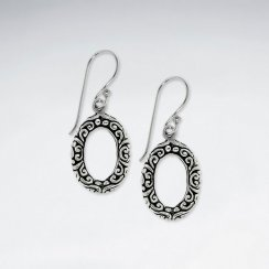 Oxidized Textured Silver Open Oval Drop Shepherds Hook Earrings in Silver