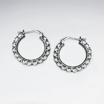 Oxidized Textured U-Hoop Lever Back Ear Hook Earrings in Silver