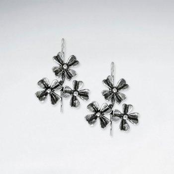 Oxidized Triple Star Blossom Dangle Drop Earrings